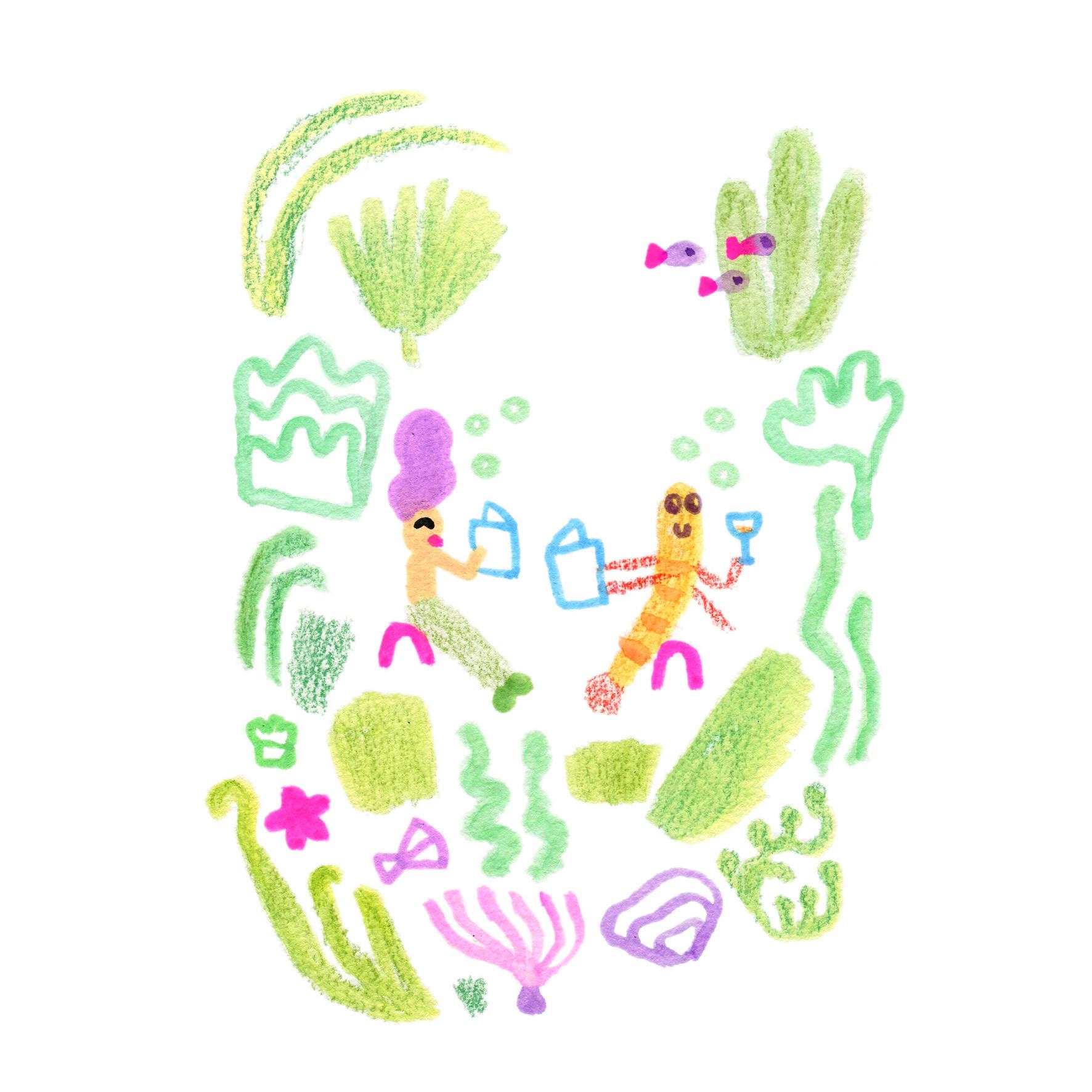 Sirène et crevette